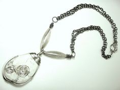 Natural White Faceted Howlite Pendant Necklace by RaquelDoloresDesign on Etsy
