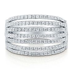 Cubic Zirconia CZ 925 Sterling Silver 7 Row Right Hand Fashion Ring