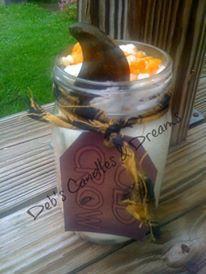 Old Crow Candy Corn Jar Candle  16 oz Jar  by DebsCandlesandDreams