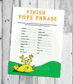 Dr. Seuss Baby Shower Game, Finish Pops Phrase, PRINTABLE Game for Daddy, Many Unique Games to Choose From. $6.99, via Etsy.