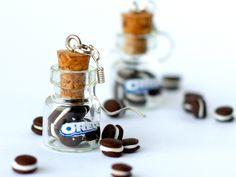 Miniature food - Oreo earrings miniature kawaii bottle Polymer clay jar miniature sweet dessert hoop. $15,00, via Etsy.