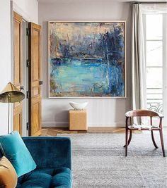 """Entry or Dining Room Art - Original Abstract Landscape Painting, Canvas Art Wall Decor. Handmade Oil Painting, One-of-a-kind, IN STOCK, 48""""X48"""", Free shipping."""