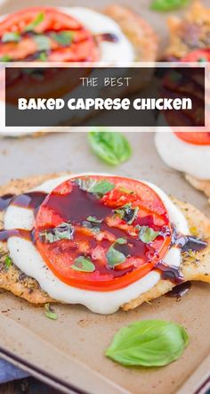 Baked Caprese Chicken is simple, flavorful, and ready in just 30 minutes. Chicken is topped with zesty seasonings, fresh mozzarella, and juicy tomatoes. Garnish with a balsamic glaze and fresh basil for a deliciously easy meal! #caprese #capresechicken #bakedcapresechicken #bakedchicken #capreserecipes #chicken #chickenrecipes #dinner #summerrecipes Best Healthy Dinner Recipes, Healthy Chicken Dinner, Yummy Chicken Recipes, Yum Yum Chicken, Recipes Dinner, Keto Recipes, Dinner Ideas, Baked Caprese Chicken, Recipe 30