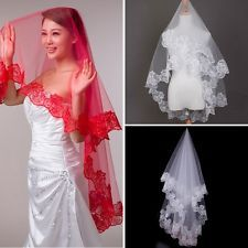 145*135CM Veils New Lace Fingertip Length Wedding Bridal Veils Trim Mantilla