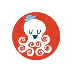 Tattly Designy Temporary Tattoos' Octopus, by Jim Datz Robert Rauschenberg, Joan Mitchell, Illustrations, Illustration Art, Little Octopus, Baby Octopus, Baby Helmet, Tattoo Now, Temp Tattoo