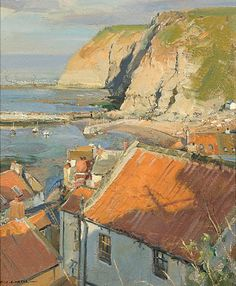 David Curtis, Rooftops over Staithes Oil on board 12 x 10 inches Signed