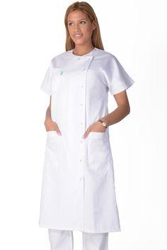 Blouse medicale femme blanche Marjo - Lafont Dentist Logo, Spa Uniform, Lafont, Medical Scrubs, Scrub Tops, Costume Design, Overalls, Cold Shoulder Dress, Housecoat