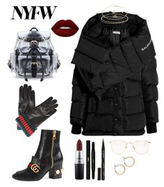 """Untitled #339"" by zfashionista17 ❤ liked on Polyvore featuring Gucci, Linda Farrow, Nordstrom, Balenciaga, Jacquie Aiche, ASOS, Lime Crime, MAC Cosmetics, Yves Saint Laurent and Smith & Cult"