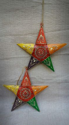 Stars Set of 2 by Little Fab Things Price Rs 700 plus shipping Rajasthani Painting, Rajasthani Art, Clay Art Projects, Clay Crafts, Diy Clay, Ethnic Home Decor, Indian Home Decor, Art For Kids, Crafts For Kids