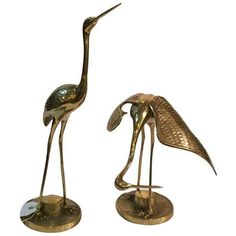 Vintage Brass Cranes- Set of 2 ($175) ❤ liked on Polyvore featuring home, outdoors, outdoor decor, models & figurines and vintage garden decor