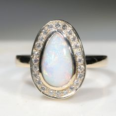 Natural Australian Solid White  Opal and Diamond Gold Ring - Size 7 Code - RL41 10k Gold Ring, Gold Diamond Rings, Gold Rings, Gemstone Rings, Opal Color, Australian Opal, White Opal, Opal Jewelry, Green And Orange