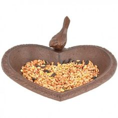 Free standing heart shaped bird bath which could also be used as a feeder. Made in cast iron with a brown paint finish and decorated with a cute bird. Stone Fountains, Small Fountains, Decorative Pebbles, Decorative Bowls, Pond Spitters, Cast Iron, It Cast, Indoor Water Features, Fallen Fruits