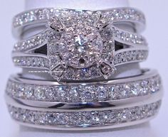 Men's Ladies 10K White Gold Round Cut Wedding Band Bridal Diamond Ring Trio Set  #aonedesigns