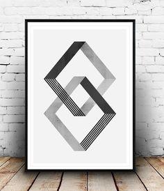Sticker abstrait géométrique affiche mur d'art par Wallzilla Plus