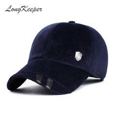 c88d73cc094 LongKeeper Winter Hats with Ears Baseball Cap Warm Woolen Thick Caps for Men  Casquette Gorras OT5