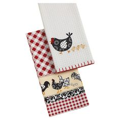 Add a touch of country-chic appeal to your kitchen with these cotton dishtowels, showcasing gingham motifs and delightful chicken details.