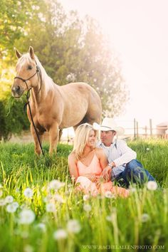 Horse engagement session. Engagement photos with horses. Such a beautiful day in Idaho for engagement photos - and the palomino horse wasn't half bad either ;).