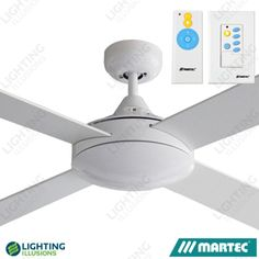 White Martec Primo Ceiling Fan - No light With Duo Remote - Modern - Timber Blades - Ceiling Fans - Lighting Illusions Online 9 Volt Battery, Fluorescent Lamp, Home Warranty, Own Home, Home Interior Design, Illusions, Blade, Remote