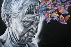 A lot of the art I've seen has shown a person's knowledge or personality leaving them, crumbling or flying away. It is suggested, by the use of colour, that all the colour and happiness has left this man leavinng him blank and lifeless.