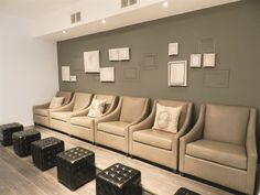 <p>The pedicure area has six comfy seats for services.</p>