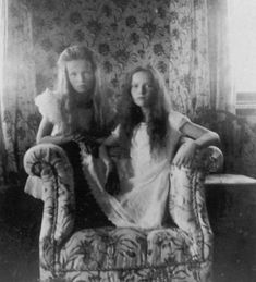 Olga and Tatiana Romanov, the two oldest Russian Princesses, who were Queen Victoria's great-grandaughters