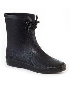 Loving this Henry Ferrera Black Croco Blooming Rain Boot on #zulily! #zulilyfinds