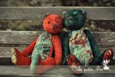 "Artist Teddy Bear OOAK colored Teddy vintage toy by Edemskaya Anna of ""Ma Petite Fée"""