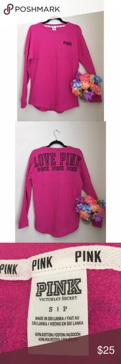 VS PINK Varsity Crew Neck Long Sleeve Dark Pink Comfy and cozy this shirt is fleece on the inside and stylish on the outside, its like a thin sweatshirt! Excellent used condition, with no tears, holes or marks! Marked size small could easily fit a medium! PINK Victoria's Secret Tops Tees - Long Sleeve
