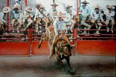 """JINETEO DE TORO"", ÓLEO SOBRE TELA, 60X90 CMS., 2013."