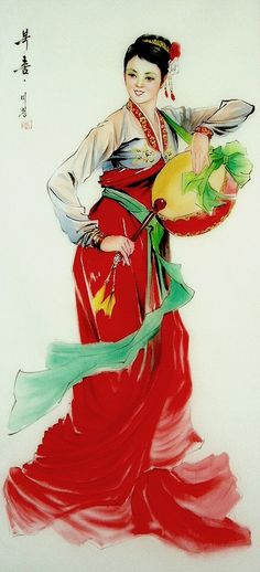 (North Korea) Korean traditional Drum dance painted by Han Mi-cheong (1960-  ).
