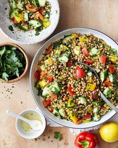 Grain Salad with Fresh Lemon & Herbs. So easy and so good. Been eating this vegan dish all week…