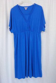 Womens Plus WHITE STAG Blue V-Neck Empire Waist Long Knit Dress, Size XXL (20) #WhiteStag #EmpireWaist #Casual