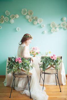 Lovely chair garlands #wedding #flowers