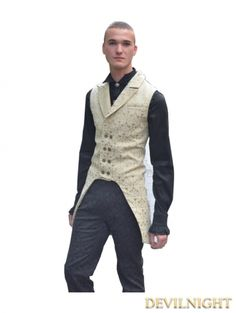 Yellow Alternative Pattern Gothic Vest for Men