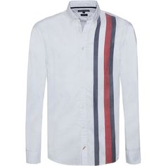 Tommy Hilfiger Global Stripe Shirt ($120) ❤ liked on Polyvore featuring men's fashion, men's clothing, men's shirts, men's casual shirts, men shirts casual shirts, mens longsleeve shirts, tommy hilfiger mens shirts, mens long sleeve button down shirts, mens extra long sleeve shirts and mens curved hem t shirt