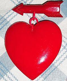 HUGE Bakelite Heart w/arrow Brooch Pin