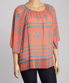 Look at this #zulilyfind! Coral & Turquoise Geo Scoop Neck Top - Plus #zulilyfinds