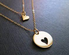 Set von 2 Herz 14 k Gold gefüllte Herz Ketten von BlueSoulDesigns