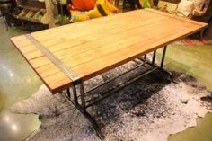 Custom made reclaimed wood and iron table, exclusively by Fiddlin Frogs Iron Table, Custom Made Furniture, Custom Wood, Frogs, Custom Design, Dining Table, Home Decor, Decoration Home, Room Decor
