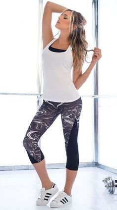 2bd8756e3c88b Black and White Marble Gym Set - Top: $17.95 Bottom: $35.95 Running Wear,