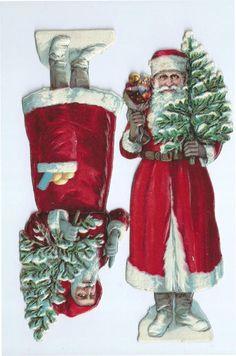 Bügelbild Santa Claus Weihnachten Christmas Merry Vintage A4 No Spielzeug 1689