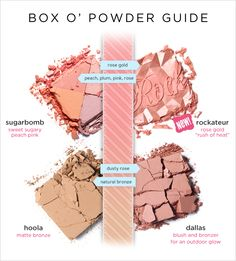 box o powder shade guide for bronzers and rose gold cheek color Hoola Benefit, Benefit Blush, Love My Makeup, Pretty Makeup, Diy Beauty, Beauty Makeup, Beauty Hacks, Benefit Cosmetics, Makeup Cosmetics