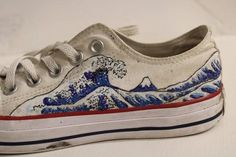 The Great Wave Hand Painted Custom To Order Converse Low Tops Etsy White Low Converse, Diy Converse, White Converse Outfits, Painted Converse, Painted Sneakers, Converse Low Tops, Custom Converse, Converse Shoes, Custom Painted Shoes
