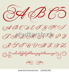 vector hand drawn calligraphic Alphabet based on calligraphy masters of the 18th century by greenga, via ShutterStock