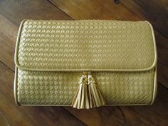 clutch bag with detachable crossbody strap woven gold faux leather $28