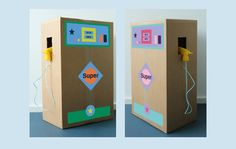 Here& a great crafting guide for your own gas station. Cardboard Box Crafts, Cardboard Toys, Cardboard Playhouse, Cardboard Furniture, Diy For Kids, Crafts For Kids, Diy Karton, Pallet Kids, Pompe A Essence