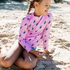 Girls Pink Toucan Long Sleeve Rashie | Sandy Feet Australia