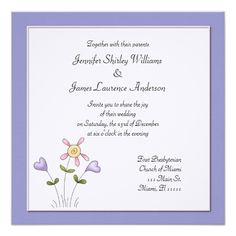 Whimsical Purple Floral Wedding Invitation