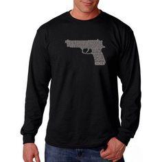 Los Angeles Pop Art Big Men's Long Sleeve T-shirt - Right to Bear Arms, Size: 2XL, Black