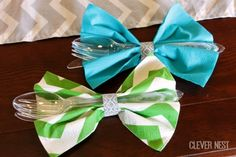 amazingly cute bow tie cutlery napkins. Use an inch or so of washi tape to secure it. Little Man themed baby shower at Clever Nest #aquagray...